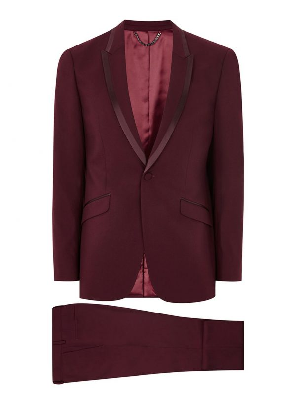 5 Dashing Wedding Suit Trends for 2017/2018 in Lagos, nigeria africa (And where to buy them. Burgundy SuitMaroon SuitBlack And Red SuitBurgundy Pants MenMaroon TuxedoRed TuxedoBrown Suit WeddingBlack Tuxedo WeddingWedding Suits For Groom. Image 1 of Heart & Dagger Burgundy Suit in Birdseye Fabric in Super Skinny Fit