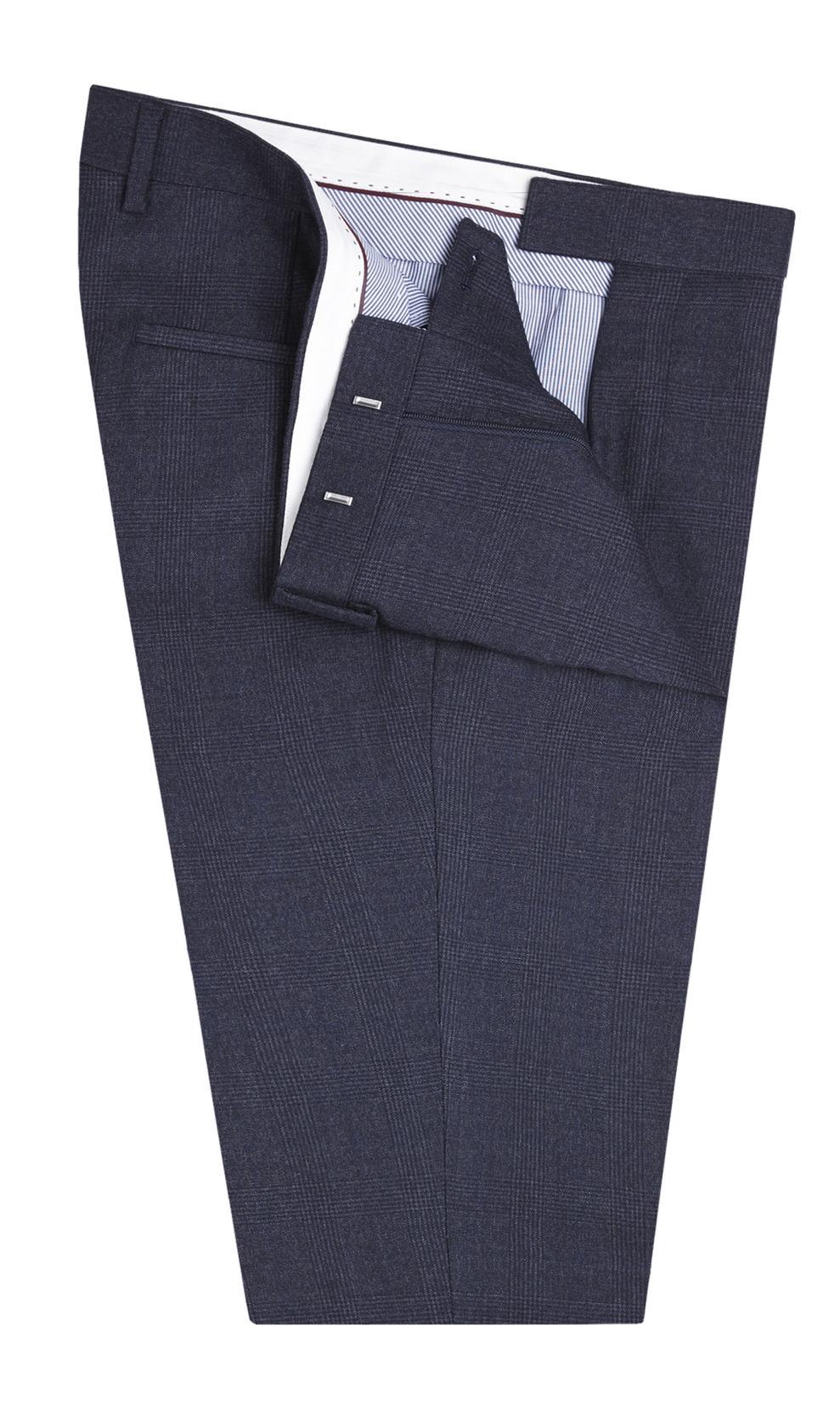 Wedding Slim Fit Suit in Indigo Check - Deji & Kola