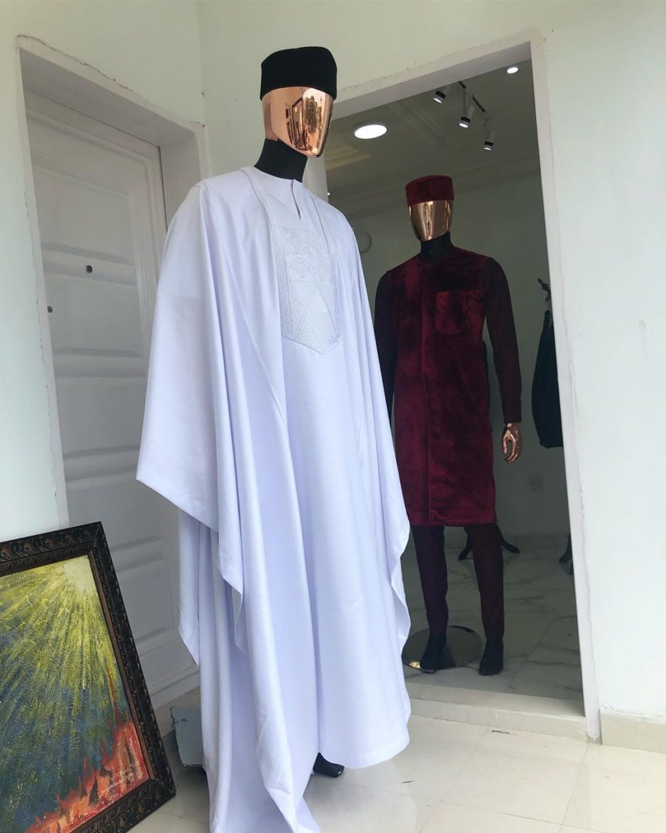 Tailored dotted white agbada with osibajo wool hat