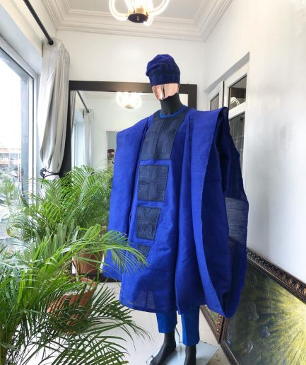 Aso Oke Agbada, Royal Blue